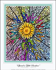 Spread a Little Sunshine - a poster with a sunflower in the middle and various colored ribbons surrounding it. It's a painting, but it looks like a stained glass window!