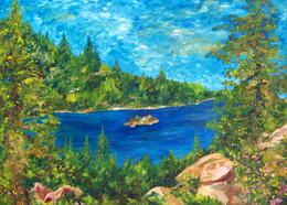 Lake Tahoe Sierra Art Painting by Renee Ekleberry
