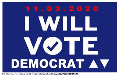 #32 I WILL VOTE DEMOCRAT - 11x17 poster - Thanks for helping!