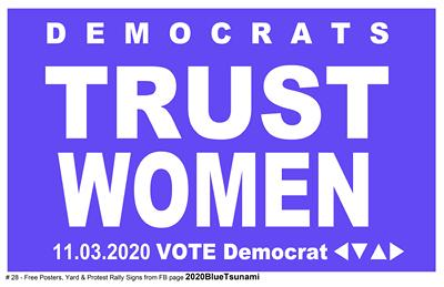#28 TRUST WOMEN blue - 11x17 poster - Thanks for helping!
